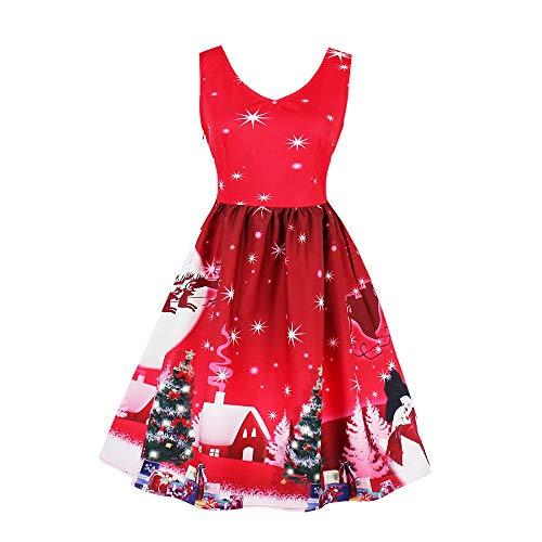 [Weihnachtskleid Damen] Plus Size Santa Christmas Xmas Party Kleid JiaMeng Vintage Weihnachten Swing Skater Kleid MiniKleid Partykleid Rockabilly Abendkleid