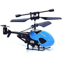 Malloom RC 5012 2Ch Mini Helicóptero RC De Radio Control Remoto De Aviones Micro 2 Canales (Azul)