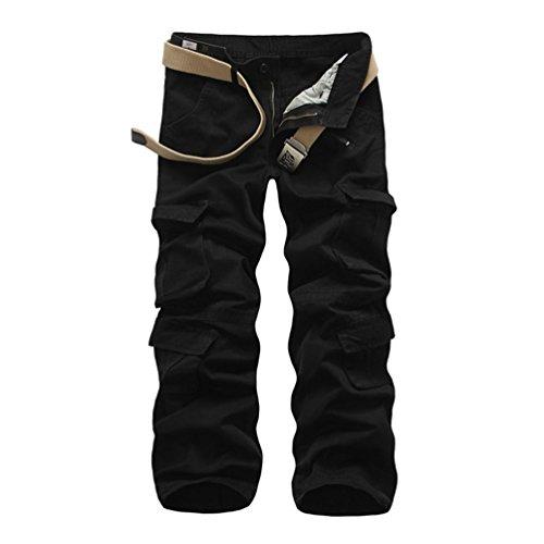 ZKOO Uomo Cargo Jogger Pantaloni Pantalone Cotone Lungo Pantaloni da Lavoro Militare Pantaloni Calzoni con Multi Tasche Uomini All'aperto Nero