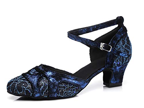 MINITOO Damen Latein Salsa Floral Printed Closed Toe Chunky Niedriger Absatz Blau Ballroom Professional Tanzschuhe EU 40.5