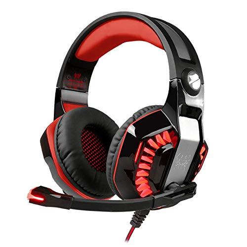 Preisvergleich Produktbild Huihuiya G2000 Lightweight Gaming Headset LED-Kopfband Leuchtender Gamer-Kopfhörer-Schwarz & Rot