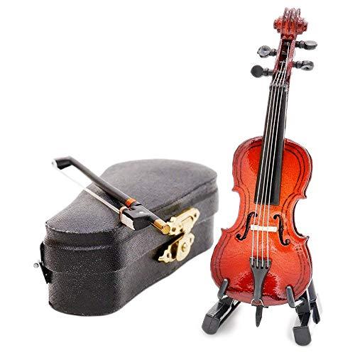 Odoria 1/12 Miniatura Violonchelo de Madera con Caso y Arco Musical Instrumento Musical para Muñecas