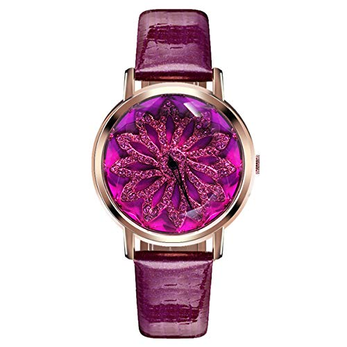 Kirintech Quarz-Uhr Für Frauen Vanchy Bunze® Glas Spiegel Drehbar Blütenblatt Dial Plate Armband Jelly Serie Armband Mit Lederband,Purple