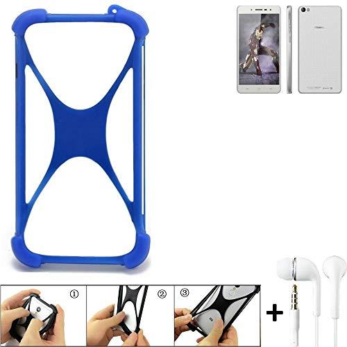 K-S-Trade Bumper für Hisense L671 Schutzhülle Handyhülle Silikon Schutz Hülle Cover Case Silikoncase Silikonbumper TPU Softcase Smartphone, Blau (1x), Headphones