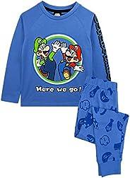 Super Mario Pajamas Luigi Boys Manga Larga Niños Azul Camiseta y pantalón PJ Set