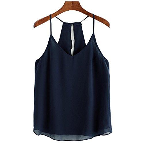 Fulltime®Femmes mousseline Sexy sans manches Tank Crop Tops Vest Blouse T-shirt Marine