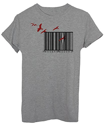 iMage T-Shirt Banksy Barcode Vögel Freiheit - Famous Herren-L - Grau - Unternehmen T-shirts