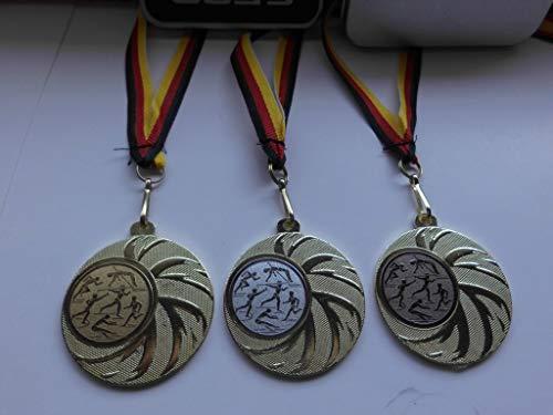 Fanshop Lünen Medaillen Set - aus Stahl 45mm, (Gold) - Leichtathletik - Laufen - Weitsprung - Speerwerfen - Medaillenset - mit Emblem 25mm, Gold,Silber,Bronce - mit Medaillen-Band - (e108) -