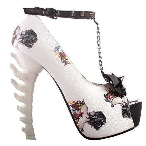 (Show Story glänzenden weißen Frau Schwarzer heißen Abend Knochen Hochhackigen Plattform Knochen Heels Schuhe,LF80631AM38,38 EU,White Woman)