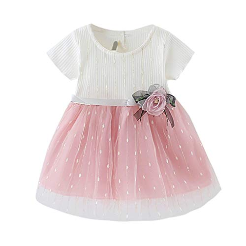 Pwtchenty baby Kleid Sommer Kurz Mädchen Prinzessin Dresses Festzug Ärmellos Drucken Rock Kurzarm Tüll Mesh Spleißen Blumenkleid Kleider Sommer Girls Große ()