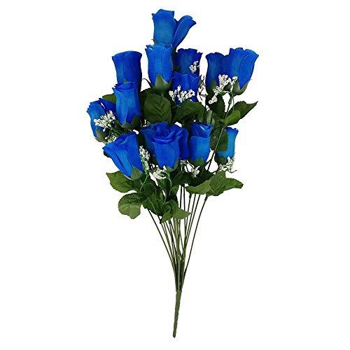 WEFLOWERS18 Kopf Rose Bud Bouquet - künstliche Seidenblumen Fake Funeral [Royal Blue] (Royal Blue Orchids)