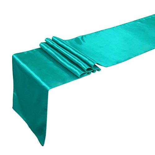 Tiaobug Satin Tischläufer Tischwäsche Tischband Tischdecke Hochzeit Deko 30x275cm/12x108inch (Teal Blau)