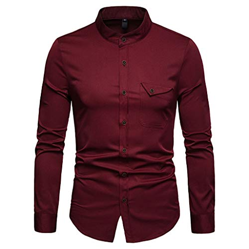 ESAILQ Herren Lange Ärmel Casual Button Business Große Größe Casual Top Bluse Shirts (X-Large,Wein)