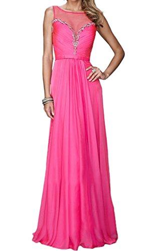 La_mia Braut Ziemlich Chiffon Durchsichtig Pailletten Abendkleider Ballkleider Partykleider Bodenlang A-linie Neu Pink