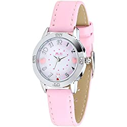 Cute Cartoon Rabbit Luxury Rhinestone Leather Strap Quartz Women Girl Wrist Watch,Pink