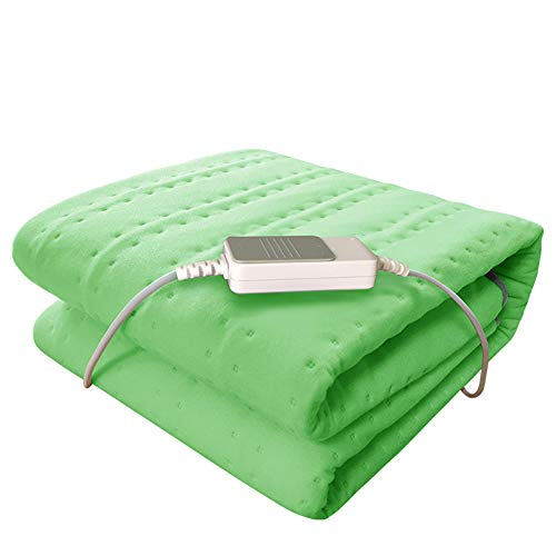 LIBINA -Heizdecke 3 Wärmespeicher-Konfigurationen Elektrische Heizkissen Automatisches Abschaltsteuerungen, Waschbare, Komfortable Wasserdichte Wraps, 150Cm × 75Cm,Green