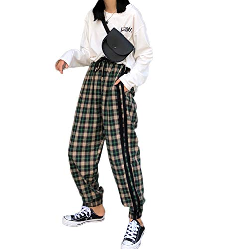 DFGTHRTHRT Frauen Casual Plaid Baumwolle Harem Hippie Hose Capris Hose mit Taschen Sportbekleidung (Color : GreenGrid, Size : M)