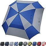 G4Free - Ombrello da Golf Extra Large, con Doppia Copertura, ventilato, Quadrato, Antivento, Apertura Automatica, 157,5 cm, per Uomini e Donne, Blue/Grey