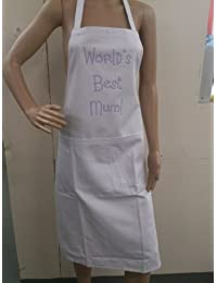 Mothers Day Gift | Novelty Apron | World's Best Mum! | White/Lilac