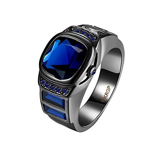 OAKKY Schwarz Gun Gold Vernickelt Emerald Platz Diamant Engagement Hochzeit Ringe für Frauen Männer Blau Größe 57 (18.1) (Männer Diamant-hochzeit Band-größe 13)