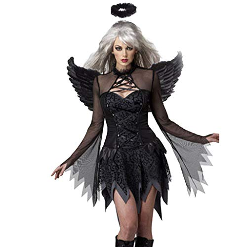 Sexy Fallen Angel Kostüme für Frauen Lace Bell Sleeve Crisscross Midi Kleider aushöhlen mit Angel Halo Stirnband und Flügeln Dark Angel Halloween Maskerade Cosplay Dress up Zubehör (Angel Kostüm Frauen)