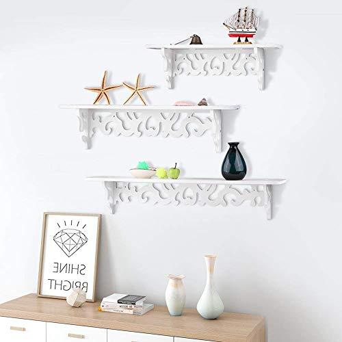 Set di 3mensole da parete, stile shabby chic, per libreria da parete, ripiano portaoggetti decorativo