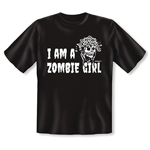 Goodman Design, Farbe: schwarz Halloween : I AM A ZOMBIE GIRL mit Motiv : Totenschädel mit lockigem Haar Schwarz