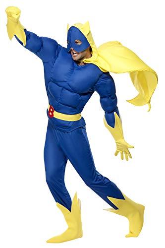 Smiffys, Herren Bananaman Kostüm, Gepolstertes Oberteil, Hose, Umhang mit Kapuze und Maske, Gürtel, Handschuhe und Überstiefel, Größe: XL, 28082