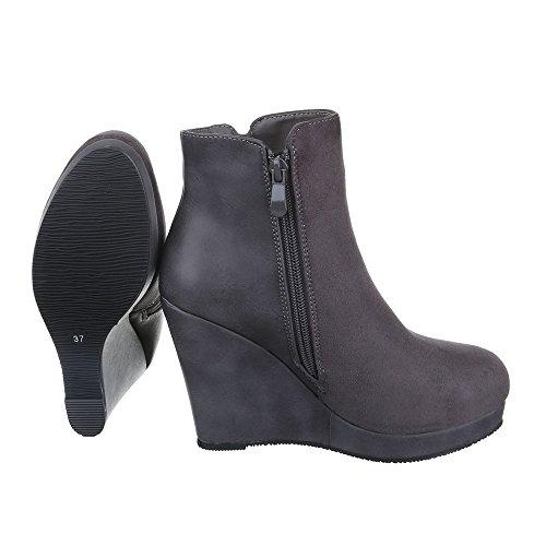 Ital-Design Keilstiefeletten Damen Schuhe Plateau Keilabsatz/Wedge Leicht Gefütterte Reißverschluss Stiefeletten Grau