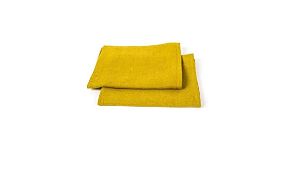 uno per le mani e uno per gli ospiti LinenMe 42 x 70 cm set di due asciugamani in lino Lara giallo//limone