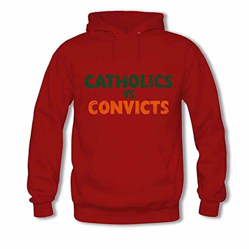 Mens Hooded Sweatshirt Catholics Vs Convicts Distressed Cotton Hoodie XXL