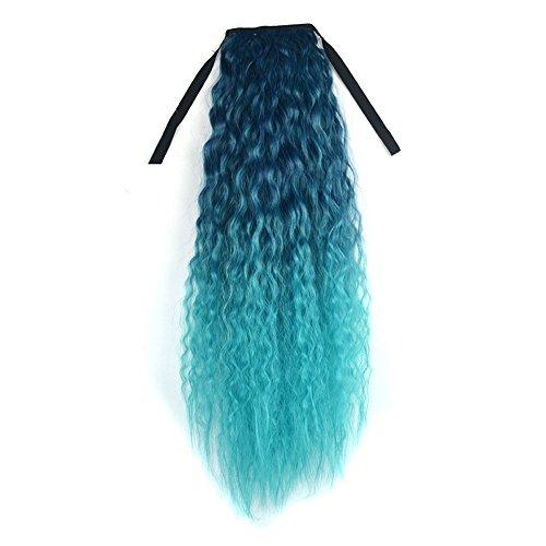 radient Color Ribbon Wavy Curly Long Ponytail Horsetail Clip Hair Extensions Perücken Haarteile für Erwachsene ()
