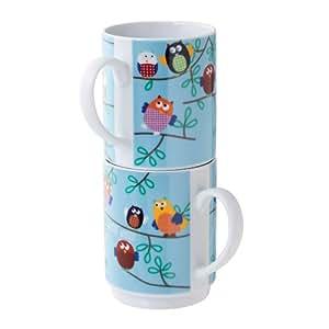 Top Choice Lot de 2 mugs hibou empilables