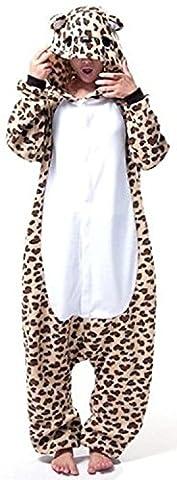 ABYED® Jumpsuit Tier Karton Fasching Halloween Kostüm Sleepsuit Cosplay Fleece-Overall Pyjama Schlafanzug Erwachsene Unisex Lounge,Erwachsene Größe M - für Höhe 159-166CM Leopard-Bär