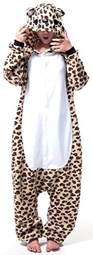 r Karton Fasching Halloween Kostüm Sleepsuit Cosplay Fleece-Overall Pyjama Schlafanzug Erwachsene Unisex Lounge (Leopard Kostüm)