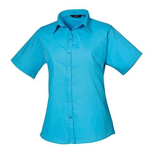 Premier Womens Poplin Long Sleeve Formal Work Blouse Shirt Turquoise