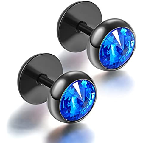 FORESTEEL Gioielli 316L chirurgica in acciaio inox tondo Stud orecchino con taglio CZ 00288 (5 stili / vendute a coppia) (nero blu)