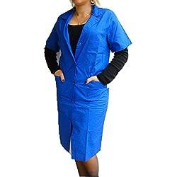 Fratelliditalia - Camisa de mujer, bata de maestra, de algodón, mujer, turquesa, 42