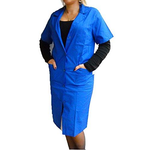 Camice donna abbigliamento lavoro maestra cotone blu bordeaux verde azzurro (blu, 56)
