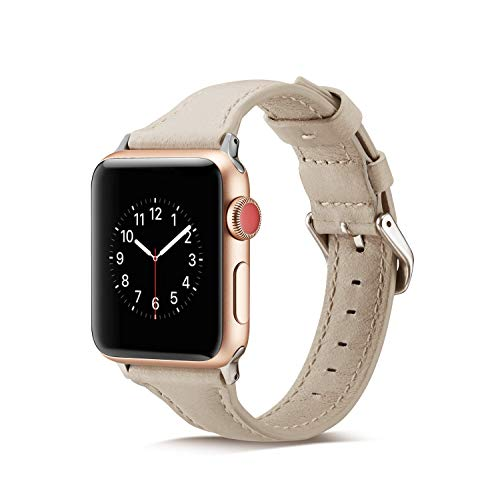 SYOSIN für Apple Watch Armband 38mm 40mm 42mm 44mm, Leder Schlaufe Handgelenk Uhrband Ersatz Armreif Uhrenarmband für iWatch Apple Watch Series 4, Series 3, Series 2, Series 1