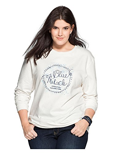 sheego Casual Femmes Sweat-shirt 100 % coton Blanc Cassé