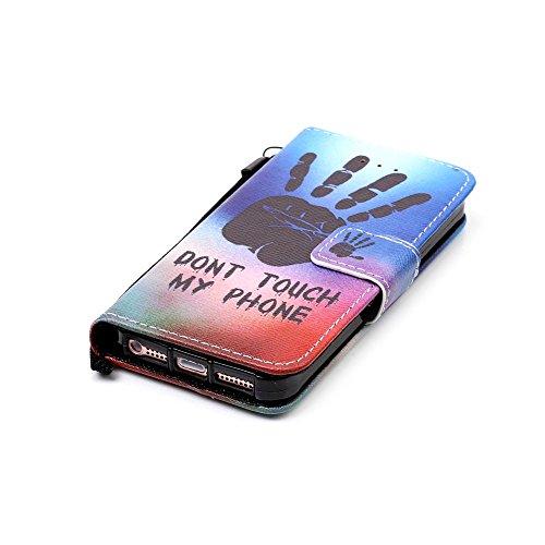 MOONCASE IPhone 5 / 5S / iPhone SE Hülle, [Wolf] Muster PU Ledertasche Case mit Magnetverschluß Klappbar Brieftasche Dünn Schutzhülle Folio Cover für iPhone 5G / 5S / SE Palm