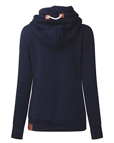 StyleDome Winter Damen Kaputzenpullover Hoodie Langarm Hohe Kragen Sweatshirt Pullover Casual Slim Jumper Kaputzen Outerwear Dunkelblau459701