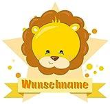 Samunshi® Süßer Löwe Aufkleber mit Namen Autoaufkleber Namensaufkleber Kinder in 7 Größen (10x8,8cm Mehrfarbig)