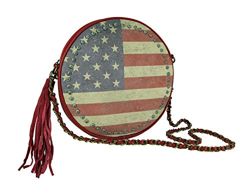 Things2Die4 Handtasche Montana West American Pride Vintage Flag Round Chain Handle Handtasche (Handtasche West American)