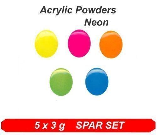 Acryl Color Puder Neonfarben - Colaxy Acrylpuder 5x 3g Neon SPAR SET