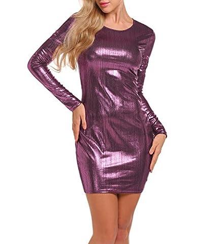 Keland Damen Freizeitkleid für Party Ball Klub metallic violett