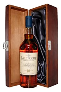 Talisker 10yr Old Scotch Whisky with Luxury Hinged Stained Wooden Box from Talisker