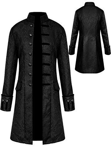 ZQY Herren-Kostüm, mittelalterlich, lang, Steampunk-Stil, mit Stehkragen, formeller Gothic, viktorianischer Frockmantel - Schwarz - XXX-Large