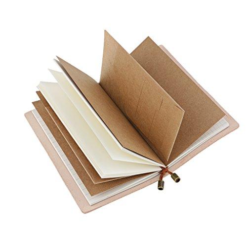 Homyl Cuaderno Recargable de Viajero Hecho A Mano, Diario de Viaje Diario Cuaderno Libreta de Libro de Recuerdos Vintage Con 3 X 32 Piezas Papel Interno Para Escritura, Regalos, Viajeros, Scrapbooking, Planificador de Diario Portátil - Natural